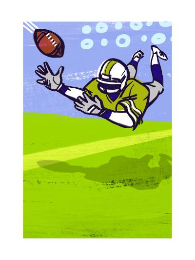 Diving to Catch Football--Art Print