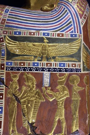 Divinity, Decorative Detail of Male Funerary Mask, Gilded and Painted Cartonnage, from Meir--Giclee Print