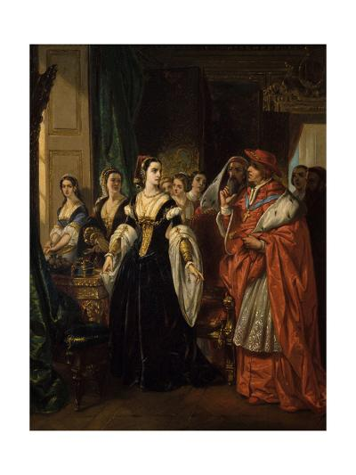 Divorce of Henry Viii and Catherine of Aragon before Cardinal of Wolsey Ca. 1530-Eugene Deveria-Giclee Print