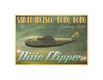 TRAVEL ART PRINT China Clipper by Carlos Casamayor San Francisco Poster 14x11