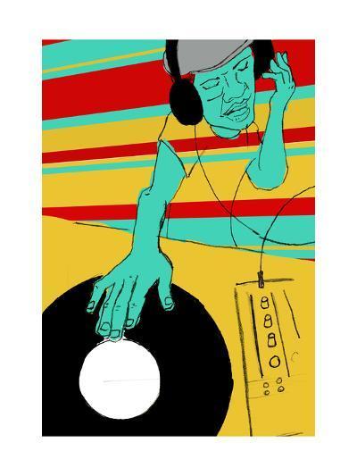 DJ Spinning--Art Print