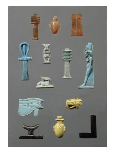 Djed, oudjat jaune, coeur, Ankh, oudjat bleu, Bès, Isis, deux plumes cornaline, lièvre, équerre--Giclee Print