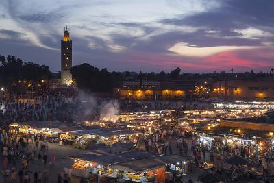 Djemaa El Fna Square and Koutoubia Mosque at Sunset-Stephen Studd-Photographic Print