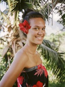 A Young Woman Models Traditional Dress in the Marquesas Islands by Dmitri Alexander
