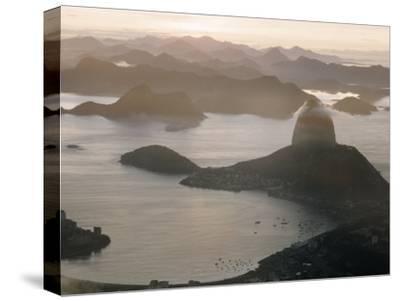 Aerial at Dusk of Sugar Loaf Mountain and Rio de Janeiro