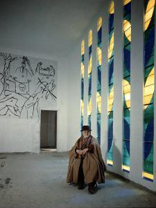 Artist Henri Matisse in Chapel He Created. the Tiles on Wall Depict Stations of the Cross by Dmitri Kessel