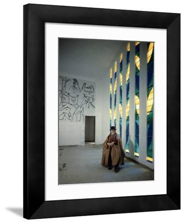Artist Henri Matisse in Chapel He Created. the Tiles on Wall Depict Stations of the Cross