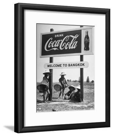 "Billboard Advertising Coca Cola at Outskirts of Bangkok with Welcoming Sign ""Welcome to Bangkok"""