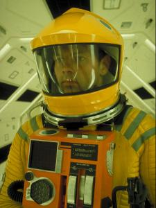 """Close Up Portrait of Actor in Astronaut Suit on the Set of the Movie """"2001: A Space Odyssey"""" by Dmitri Kessel"""