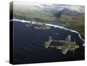 Excellent of a Squadron of American P-38 Fighters in Flight over an Aleutian Island by Dmitri Kessel