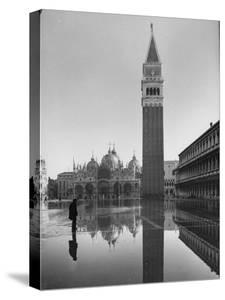 Flooded Piazza San Marco with St. Mark's Church in the Background by Dmitri Kessel