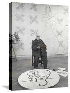 French Painter Henri Matisse Working on Medallion of Virgin and Child for Chapel at Vence in Studio by Dmitri Kessel