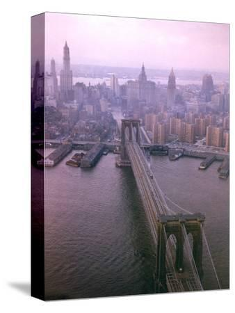 Helicopter View of the Brooklyn Bridge, New York City
