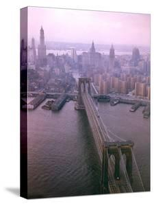 Helicopter View of the Brooklyn Bridge, New York City by Dmitri Kessel