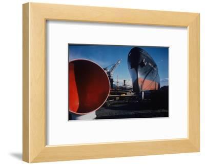 Little Rock Oil Tanker over Ship Ventilator Parts at Sun Shipbuilding and Dry Dock Co. Shipyards