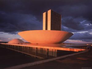 Modernistic Facade of Congress Building Designed by Oscar Niemeyer by Dmitri Kessel