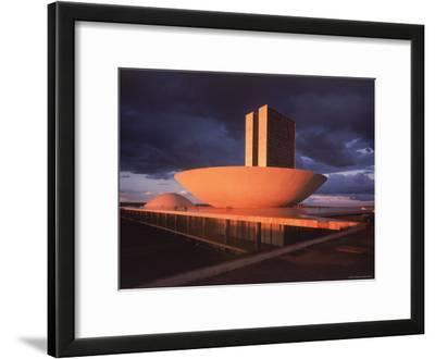 Modernistic Facade of Congress Building Designed by Oscar Niemeyer
