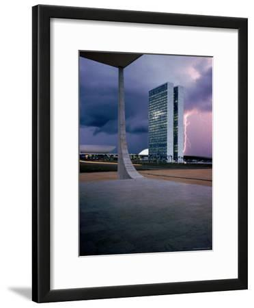 Oscar Niemeyer Designed Twin Towers For Congress in Brasilia with Lightning Bolt