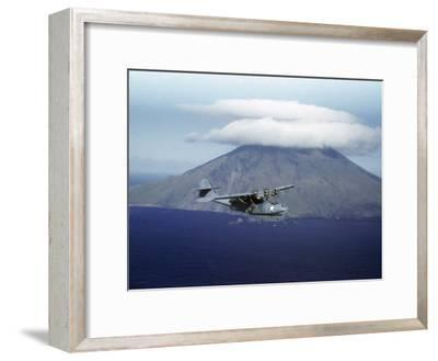 US Navy Pby Patrol Plane Flying Past Segula Island in the Aleutian Islands