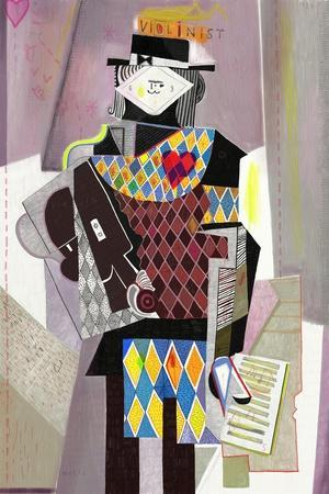 Figure Which Depicts a Violinist in the Style of Abstraction