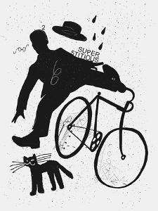 Image of a Cyclist Who Was Scared of a Black Cat. Translated from Chinese - Stop Prejudices by Dmitriip
