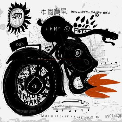 Image of motorcycle, which is made in the style of graffiti