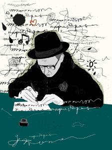 Symbolic Image of a Man Who Writes a Letter with Pen and Ink by Dmitriip