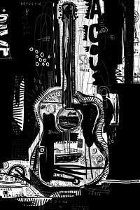 The Symbolic Image of an Acoustic Guitar on a Black Background by Dmitriip