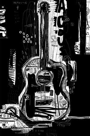 The Symbolic Image of an Acoustic Guitar on a Black Background