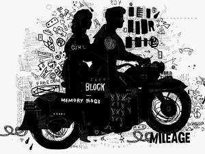 The Symbolic Image of the Motorcycle on Which the Man and Woman by Dmitriip