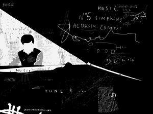 The symbolic image of the person who plays the piano by Dmitriip