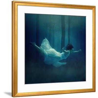 Girl in Dress Flying in the Fog. by Dmitry Laudin