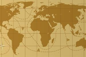 Retro World Map With Compass Rose by dmstudio