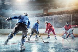 Ice Hockey Players in Action by Dmytro Aksonov