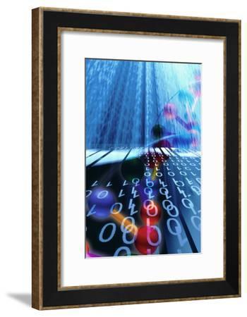 DNA Molecule And Binary Code-PASIEKA-Framed Photographic Print