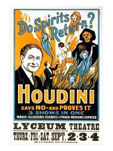Do Spirits Return, Houdini Poster