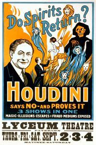 Do Spirits Return, Houdini Poster