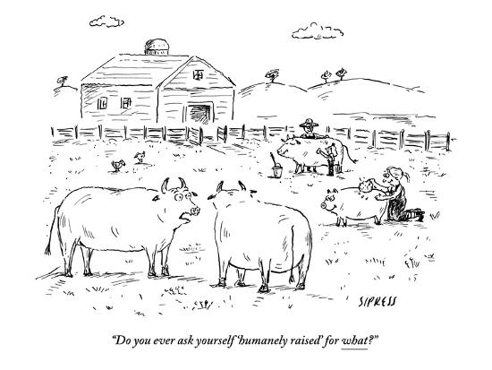"""""""Do you ever ask yourself 'humanely raised' for what?"""" - New Yorker Cartoon-David Sipress-Premium Giclee Print"""