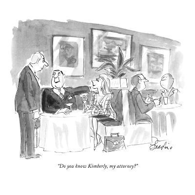 """""""Do you know Kimberly, my attorney?"""" - New Yorker Cartoon-Edward Frascino-Premium Giclee Print"""