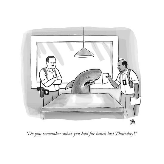 """""""Do you remember what you had for lunch last Thursday?"""" - New Yorker Cartoon-Paul Noth-Premium Giclee Print"""