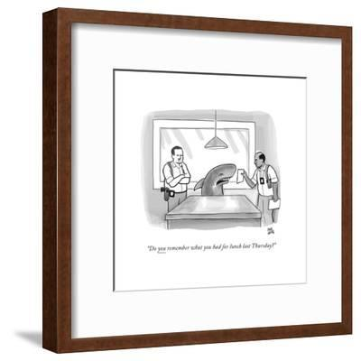 """Do you remember what you had for lunch last Thursday?"" - New Yorker Cartoon-Paul Noth-Framed Premium Giclee Print"