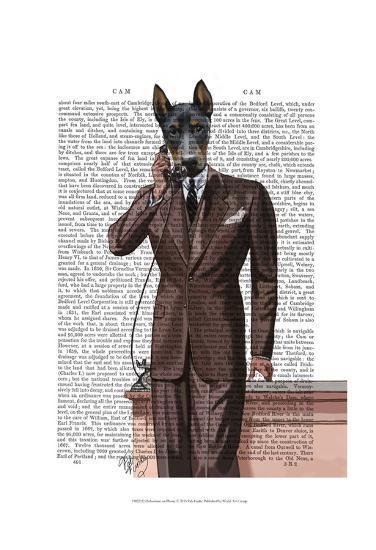 Doberman on Phone-Fab Funky-Art Print