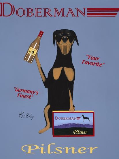 Doberman Pilsner-Ken Bailey-Premium Giclee Print