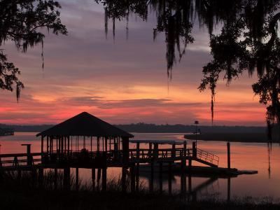Dock at Sunrise Along the Intracoastal Waterway, Savannah, Georgia, USA-Joanne Wells-Photographic Print