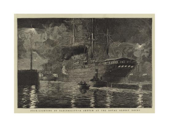 Dock-Lighting by Electricity, a Sketch at the Royal Albert Docks-William Lionel Wyllie-Giclee Print