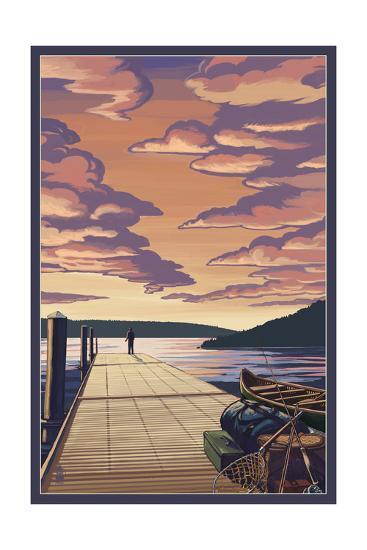 Dock Scene and Lake-Lantern Press-Art Print