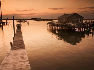 Docks and Boathouses in Tylerton on Smith Island, Chesapeake Bay-Aaron Huey-Photographic Print