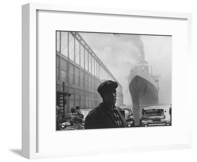 Dockworker Archie Harris Reflecting on Former Days as a Track Star-Gordon Parks-Framed Premium Photographic Print