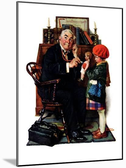 """""""Doctor and the Doll"""", March 9,1929-Norman Rockwell-Mounted Premium Giclee Print"""