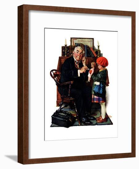 """""""Doctor and the Doll"""", March 9,1929-Norman Rockwell-Framed Giclee Print"""